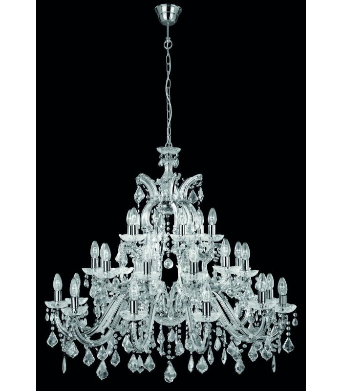 30 Light Crystal Chandelier Chrome Finish