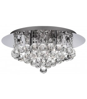 4 Light Ceiling Semi Flush Light Chrome with Crystals, G9