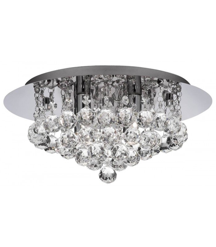 Hanna Chrome 4 Light Semi Flush Ceiling Fixture with Crystals - Searchlight 3404-4CC