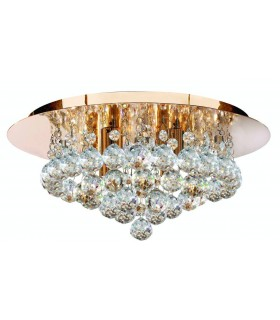 Gold 4 Light Semi Flush Ceiling Fixture With Crystals