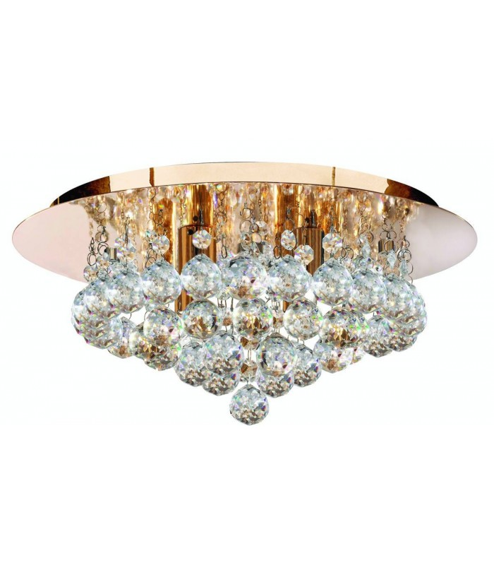 Hanna Gold 4 Light Semi Flush Ceiling Fixture with Crystals - Searchlight 3404-4GO