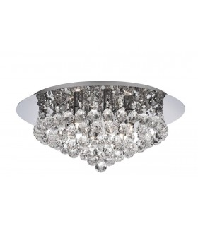 6 Light Semi Flush Ceiling Light Chrome with Crystals