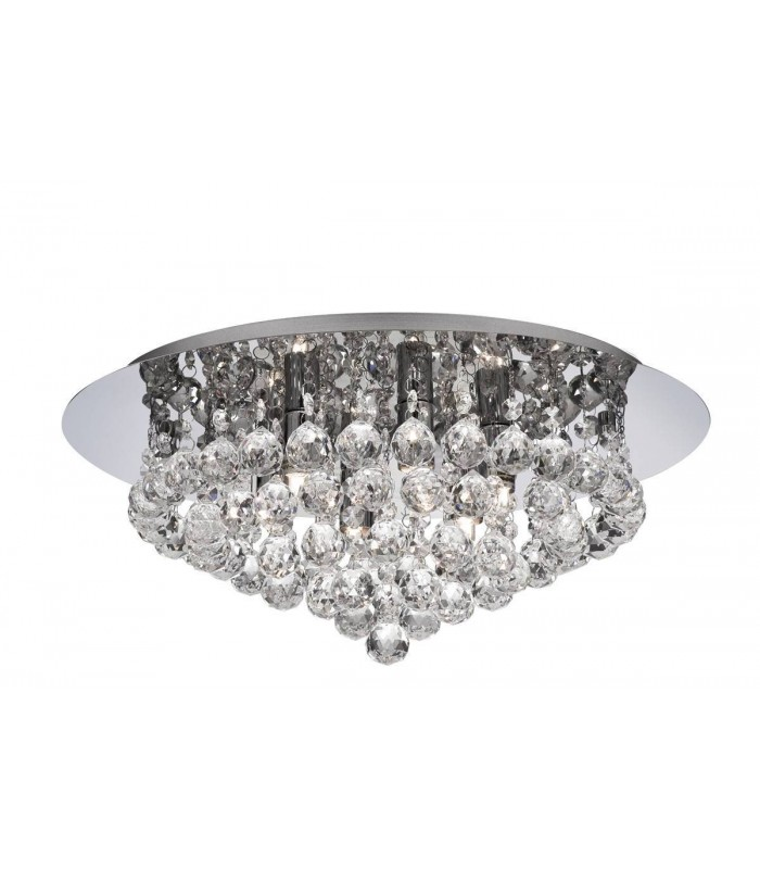 Light Semi Flush Chrome Ceiling Fixture With Crystals