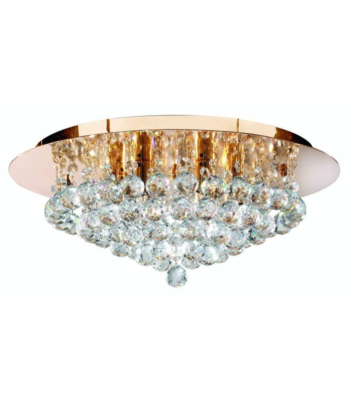 6 Light Ceiling Semi Flush Light Gold with Crystals