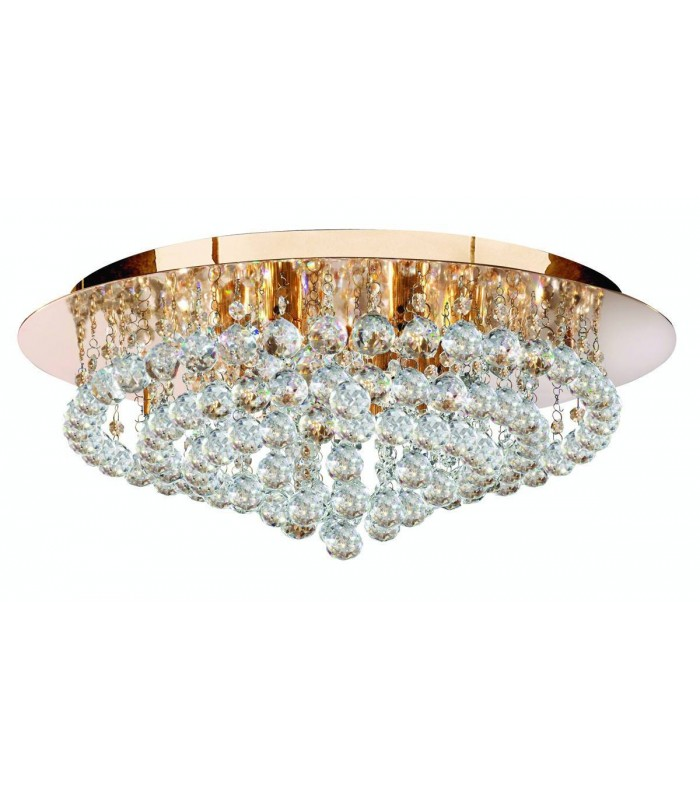 8 Light Ceiling Semi Flush Light Gold with Crystals, G9