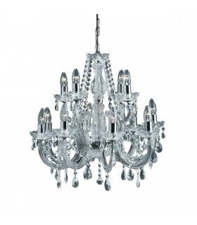 12 Light Crystal Chandelier Chrome Finish