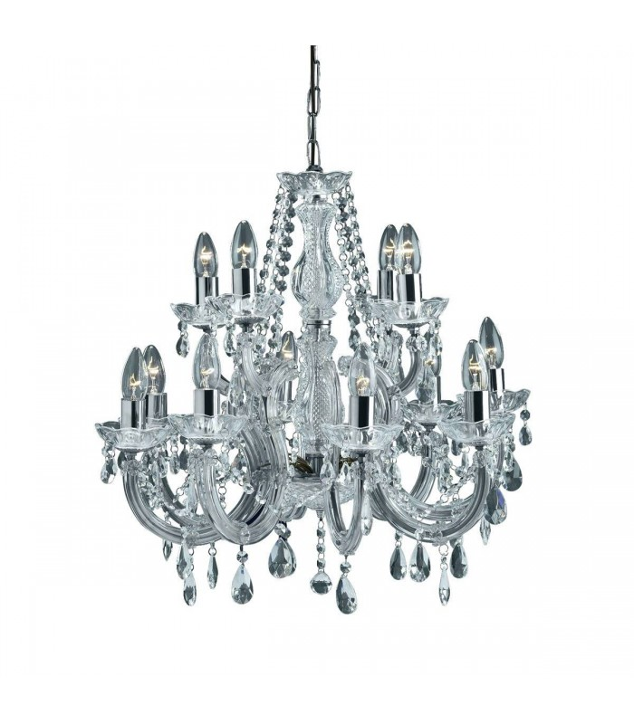 Chrome 12 Light Chandelier With Crystal Decoration