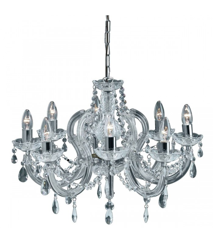8 LIGHT MARIE THERESE CRYSTAL CHROME FITTING - Searchlight 399-8
