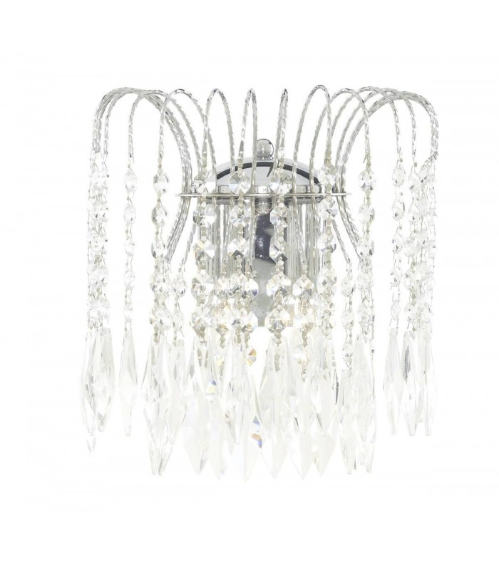 2 Light Indoor Wall Light Chrome with Crystals, E14