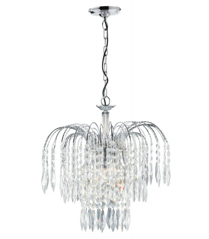 Waterfall 3 Light Ceiling Chandelier with Crystal Decoration - Searchlight 4173-3