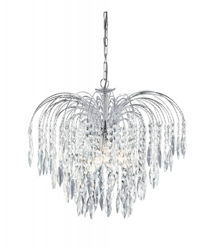 Chrome 5 Light Ceiling Chandelier With Crystal Decoration