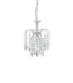 1 Light Ceiling Pendant Chrome with Crystals, E14