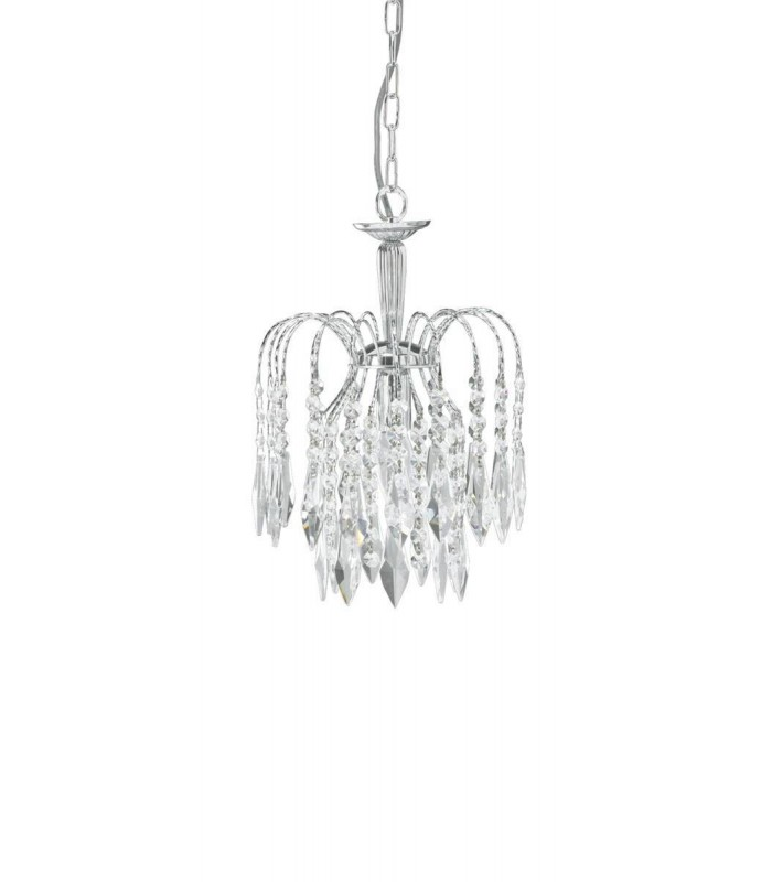 Chrome Ceiling Pendant Light With Crystal Decoration