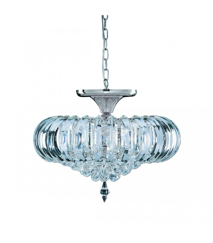 Sigma 5 Light Semi Flush Ceiling Fixture with Crystal Decoration - Searchlight 50004CC