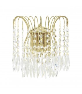 2 Light Indoor Wall Light Gold with Crystals, E14