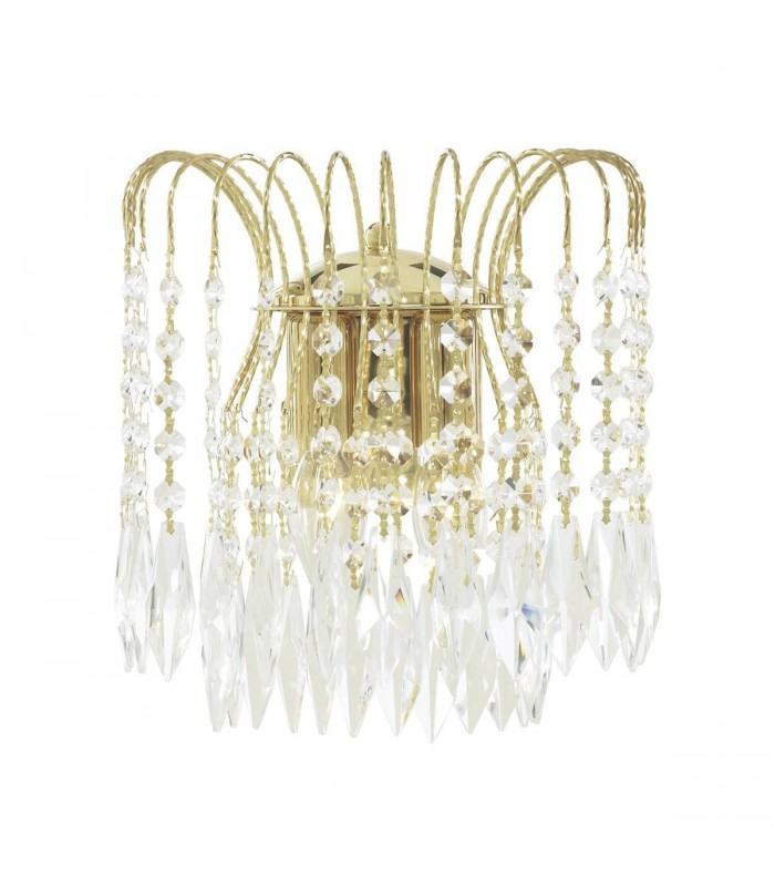 2 Light Indoor Wall Light Gold with Crystals