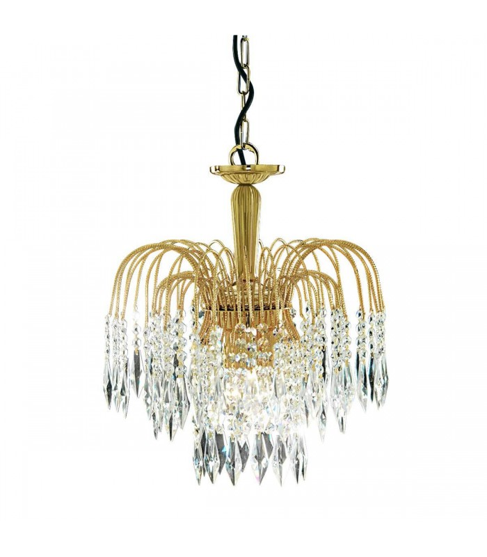 Waterfall Gold 3 Light Ceiling Chandelier with Crystal Decoration - Searchlight 5173-3