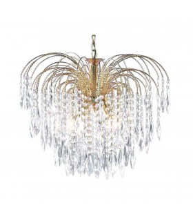 5 Light Ceiling Chandelier Gold with Crystals