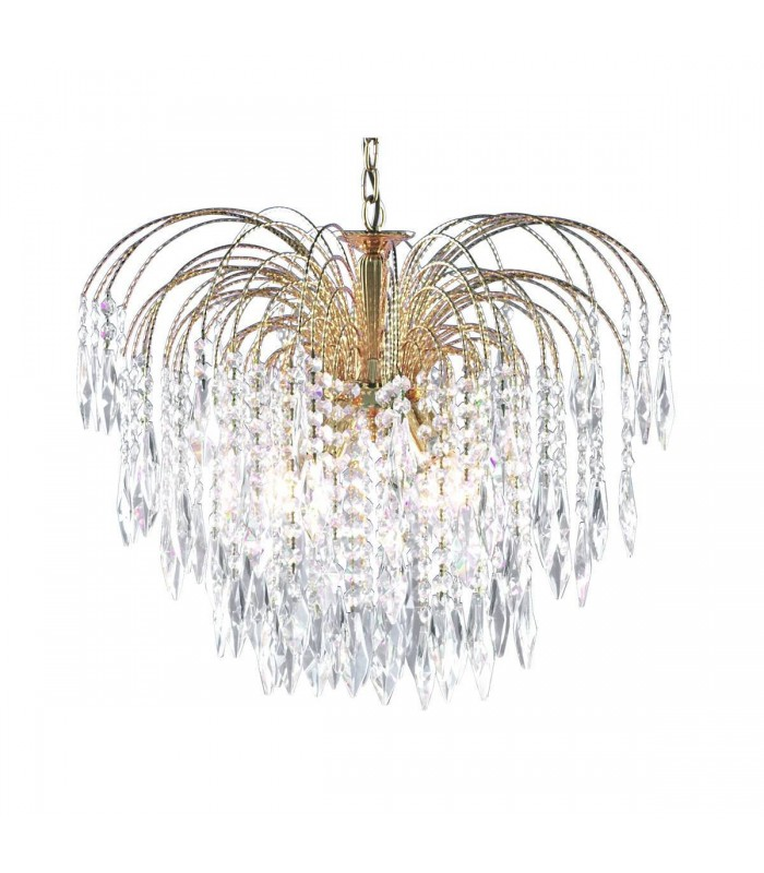 Gold 5 Light Ceiling Chandelier Fixture With Crystal Decoration