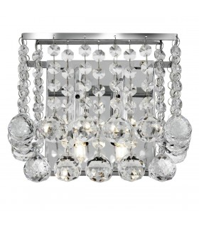 2 Light Indoor Square Wall Light Chrome with Crystals, G9