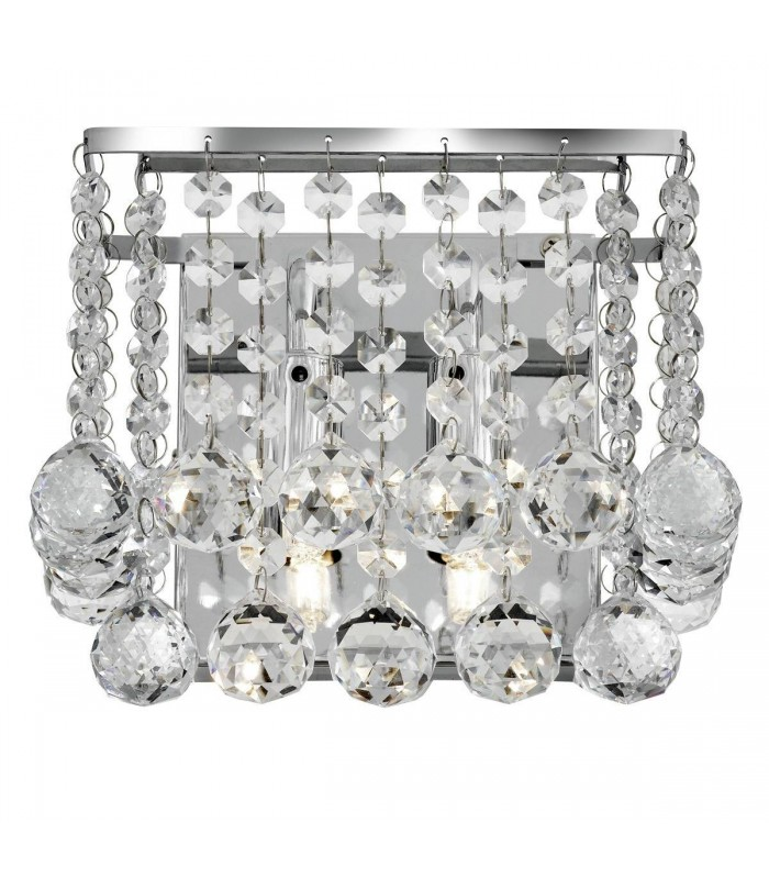 Chrome 2 Light Square Wall Bracket With Crystals