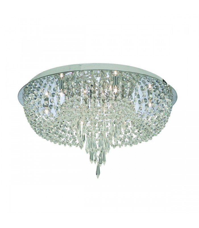 10 Light Ceiling Semi Flush Light Chrome, Crystal Glass