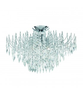 Waterfall Chrome 4 Light Semi Flush Ceiling Light with Crystals - Searchlight 6134-4CC