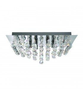 Chrome 4 Light Square Semi Flush Ceiling Fixture
