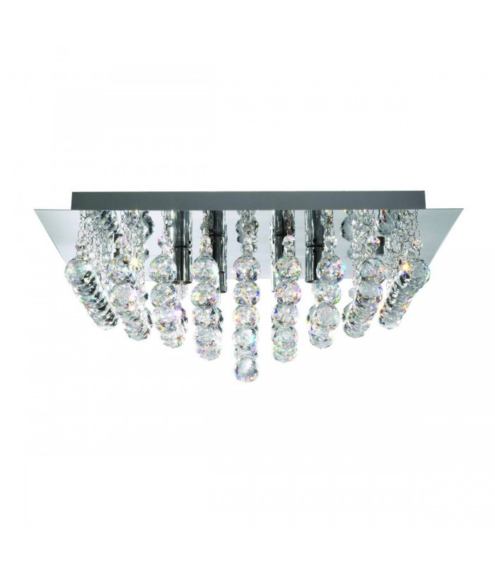 Hanna Chrome 8 Light Semi Flush Ceiling Fixture - Searchlight 6408-8CC