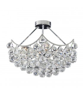 Sassari Chrome 5 Light Semi Flush Ceiling Fixture with Crystals - Searchlight 6555-5CC