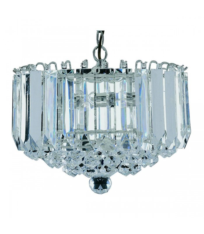 4 Light Ceiling Pendant Chrome with Crystals, E14
