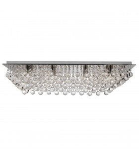 8 Light Flush Ceiling Light Chrome with Crystal Decoration
