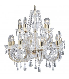 12 Light Crystal Chandelier Polished Brass Finish