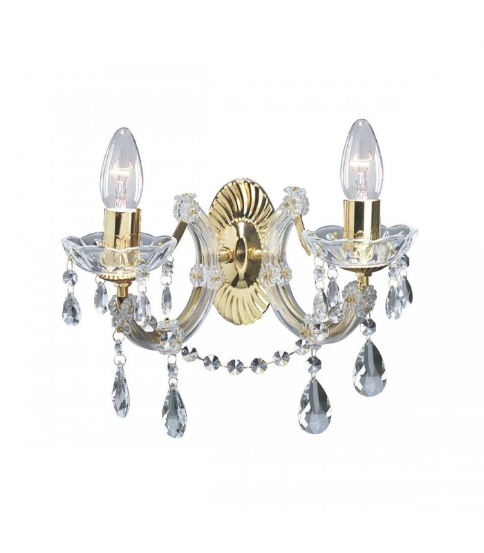 2 Light Indoor Candle Wall Light Polished Brass