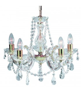 5 Light Crystal Chandelier Polished Brass Finish