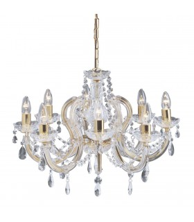 8 Light Crystal Chandelier Polished Brass Finish