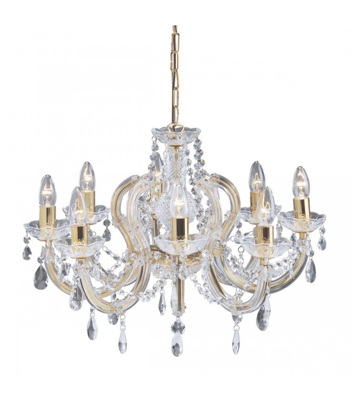 8 LIGHT POLISHED BRASS MARIE THERESE CRYSTAL FITTNG - Searchlight 699-8