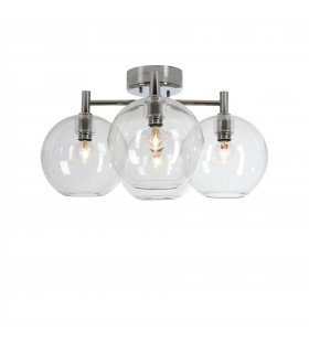 4 Light Flush Globe Ceiling Light Chrome, Clear Glass