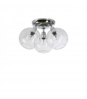 3 Light Flush Globe Ceiling Light Chrome, Clear Glass
