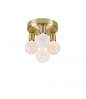 4 Light Flush Globe Ceiling Light Brass Lacquer