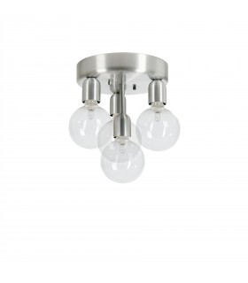 4 Light Flush Globe Ceiling Light Brushed Aluminium, Ground