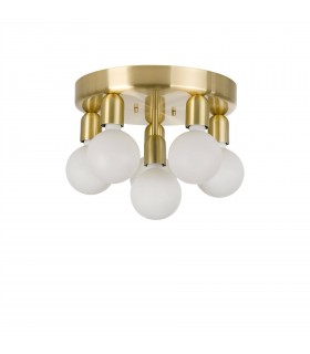 6 Light Flush Globe Ceiling Light Brass Lacquer