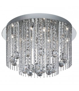 8 LIGHT CHROME CRYSTAL FITTING COMPLETE WITH STRANDS AND BALLS - Searchlight 8088-8CC