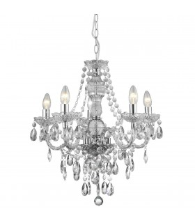 5 Light Chandelier Chrome Finish Acrylic Marie Therese