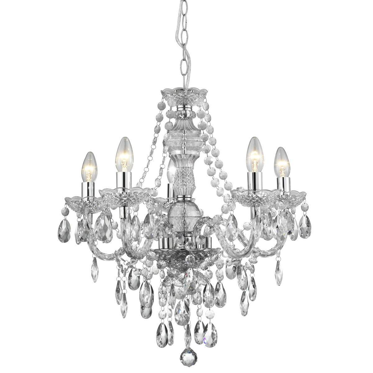 Marie Therese 5 Light Integrated LED Chrome Chandelier | Dunelm