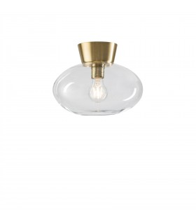 1 Light Flush Globe Ceiling Light Brass