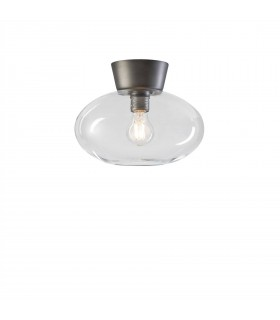 1 Light Flush Globe Ceiling Light Oxide Grey
