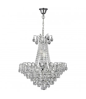 6 LIGHT CHROME CHANDELIER-SUNFLOWER CRYSTAL - Searchlight 9071-52CC