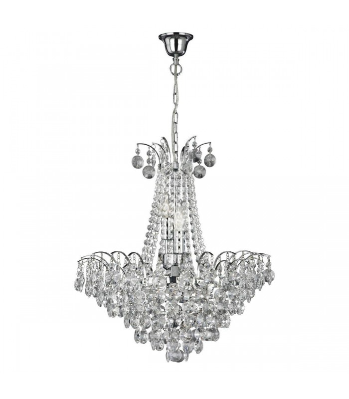 6 Light Crystal Chandelier Chrome Finish