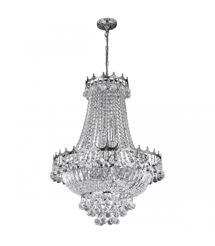 9 LIGHT 52CM CHROME CHANDELIER COMPLETE WITH CRYSTAL - Searchlight 9112-52CC